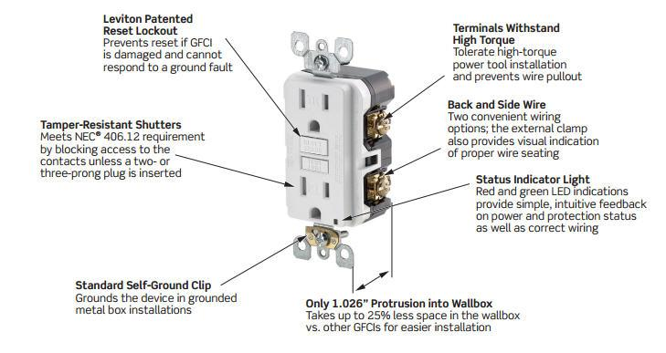 leviton gfnt1 self test smartlockpro slim gfci non tamper resistant leviton gfci outlet switch combo wiring diagram at Leviton Gfci Wiring Diagram