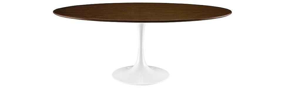 Amazoncom Modway Lippa Wood Dining Table Walnut Tables - Walnut tulip dining table