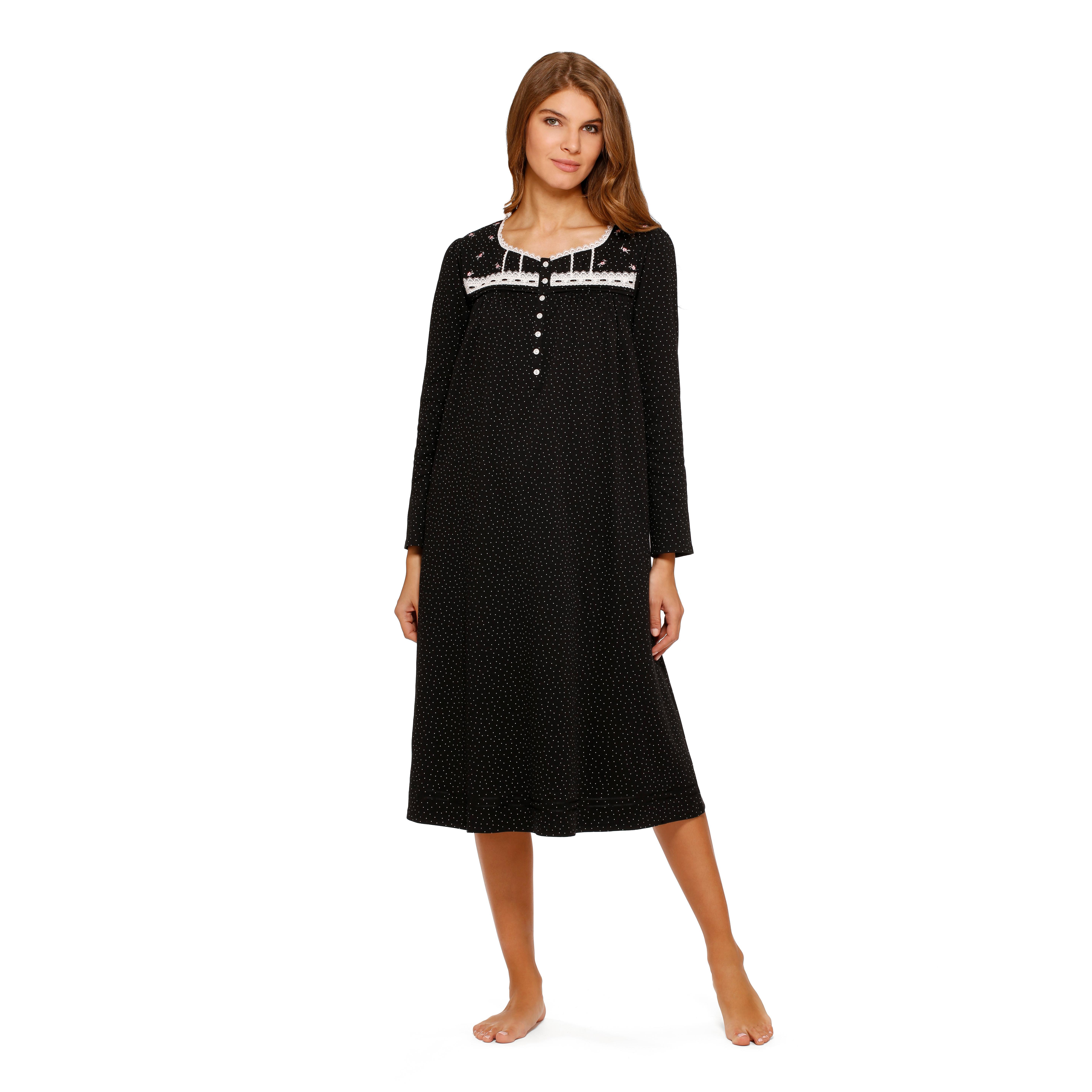 Aria Women\'s 100 Percent Cotton Knit Long Sleeve Gown, Black Dot ...