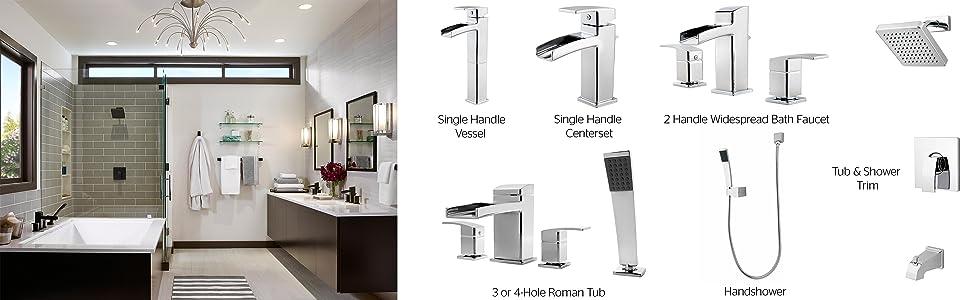 Pfiister, phirster, fister, lavatory, sink faucet, bath faucet, lav, bano, duche, modern, waterfall