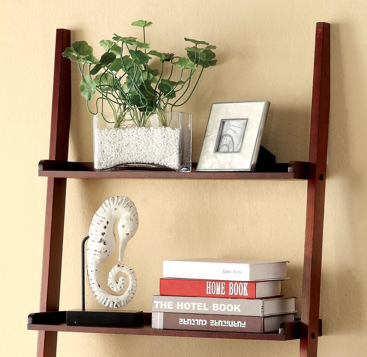 Furniture Of America Klaudalie 5tier Ladder Style Bookshelf, Raised Trim