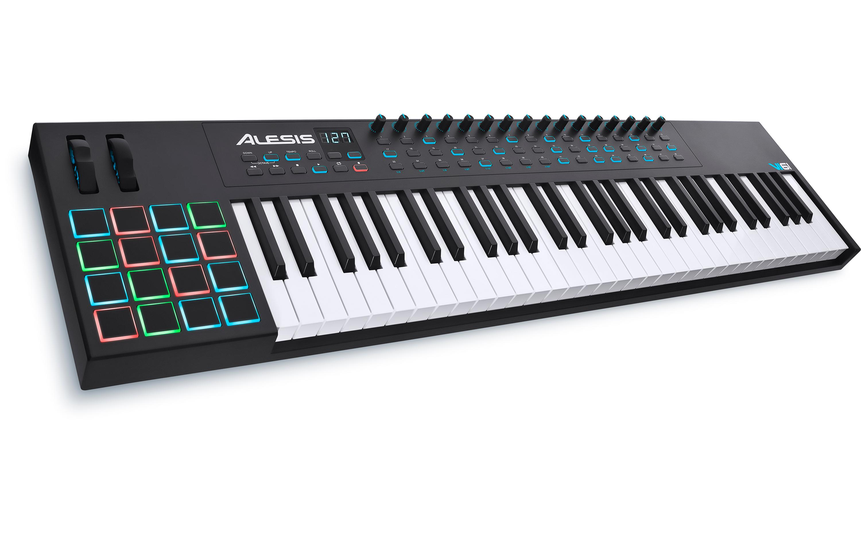 alesis vi61 advanced 61 key usb midi keyboard drum pad controller 16 pads 16. Black Bedroom Furniture Sets. Home Design Ideas