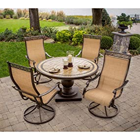 Amazon.com : Hanover MONACO5PCSW Monaco 5-Piece High-Back ...