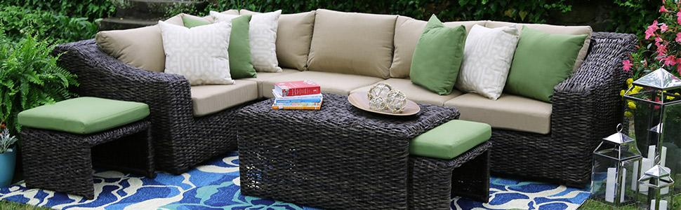 patio furniture, outdoor furniture, sunbrella, handwoven all weather  wicker, sectional, outdoor - Amazon.com : AE Outdoor Williams 8 Piece Sectional With Sunbrella