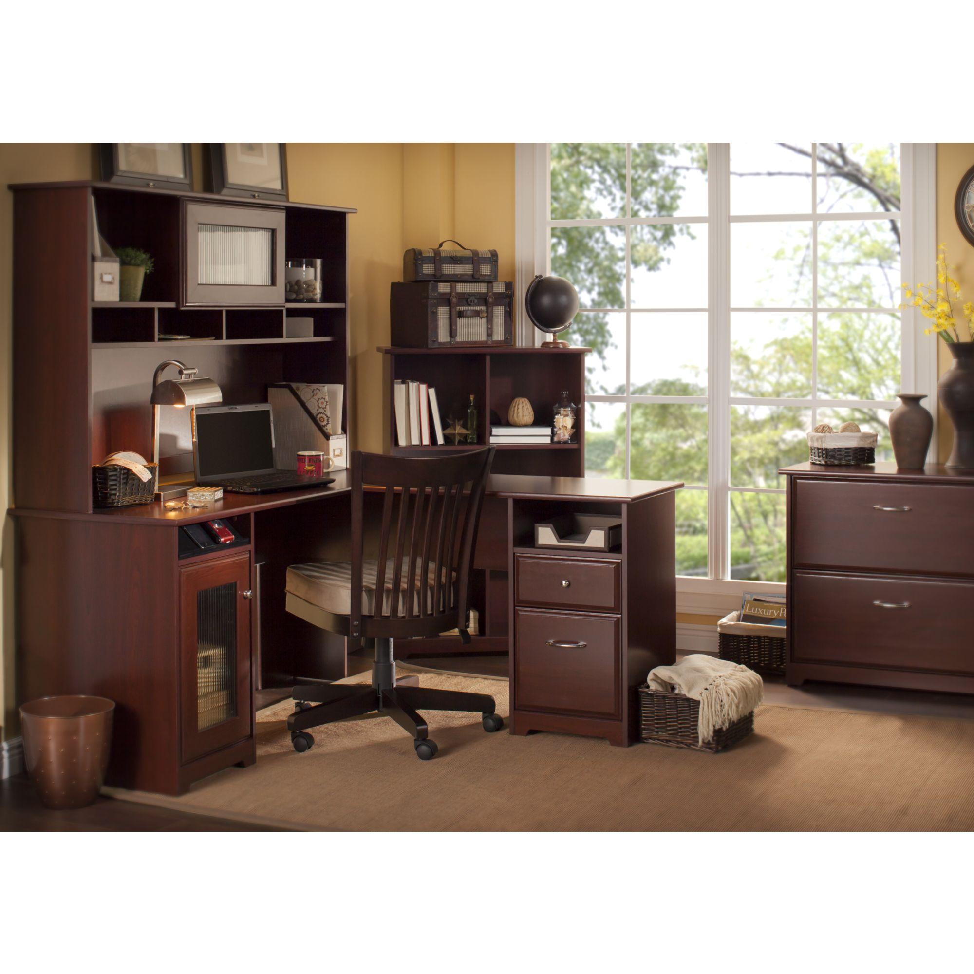 Amazon Com Cabot L Shaped Desk With Hutch In Espresso Oak