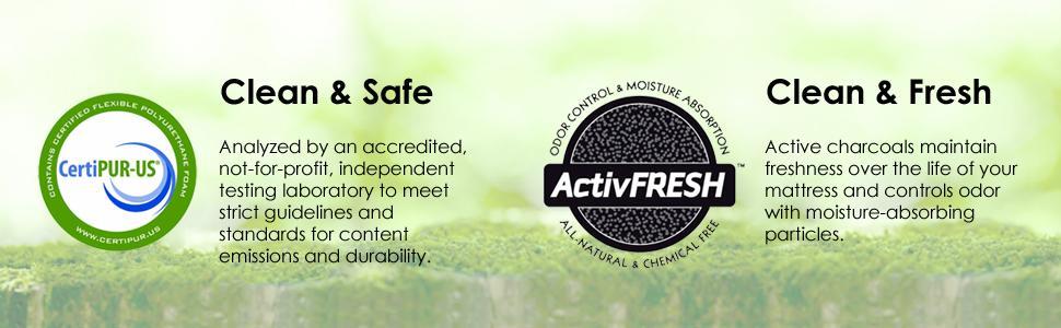 clean; safe; fresh; certipur-us; active fresh; charcoal; test;