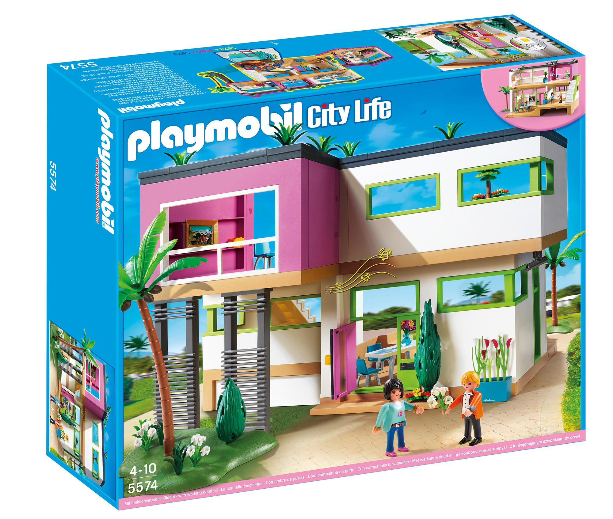 playmobil modern luxury mansion play set toys. Black Bedroom Furniture Sets. Home Design Ideas