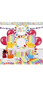 Deluxe Rainbow Birthday Party Supplies Kit for 8
