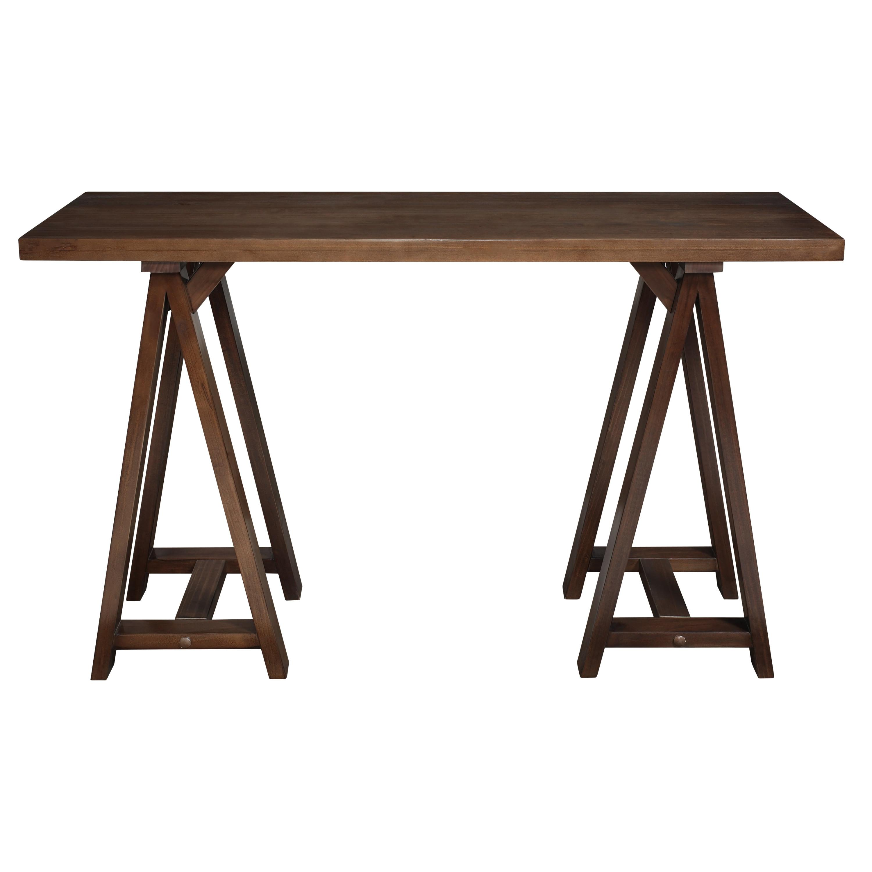 Simpli Home Sawhorse Console Sofa Table Medium Saddle Brown Kitchen Dining