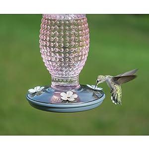 Perky-Pet Cranberry Hobnail Vintage Glass Hummingbird Feeder