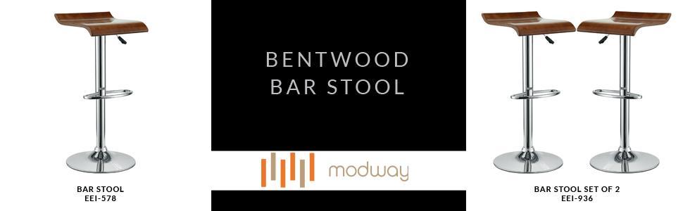 Amazon Com Modway Bentwood Retro Modern Piston Bar Stools