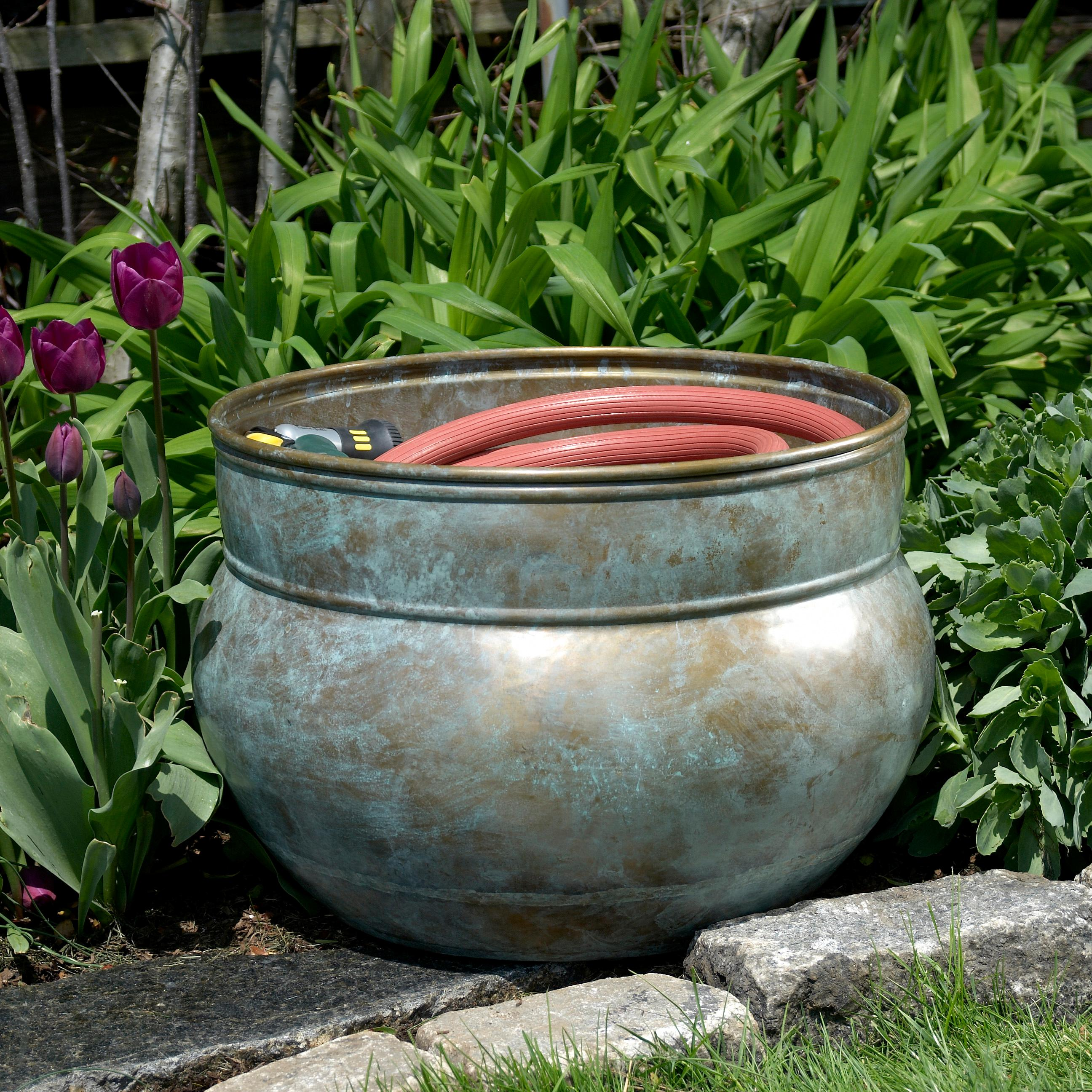 Hose Pot, Holds Up To 150-Feet of Hose, Brass : Garden Hose Parts