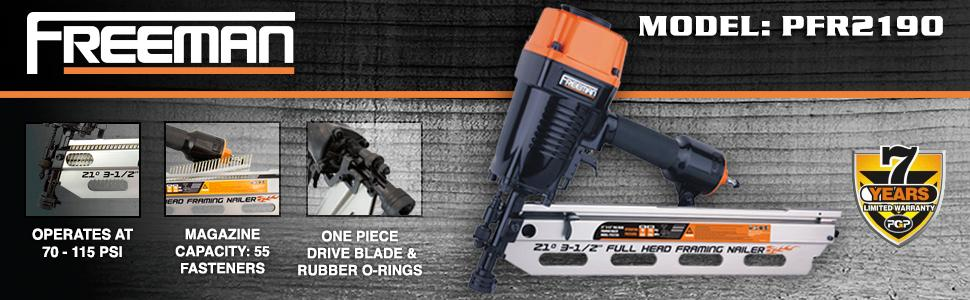 "1/4"" fitting, anti dry fire, freeman, warranty, PFR2190, fastener, framing nailer, nail gun, best"