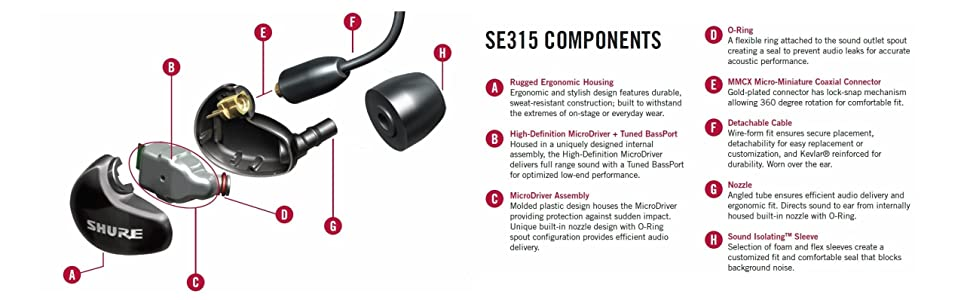 Amazon.com: Shure SE315-K Sound Isolating Earphones with Single ...