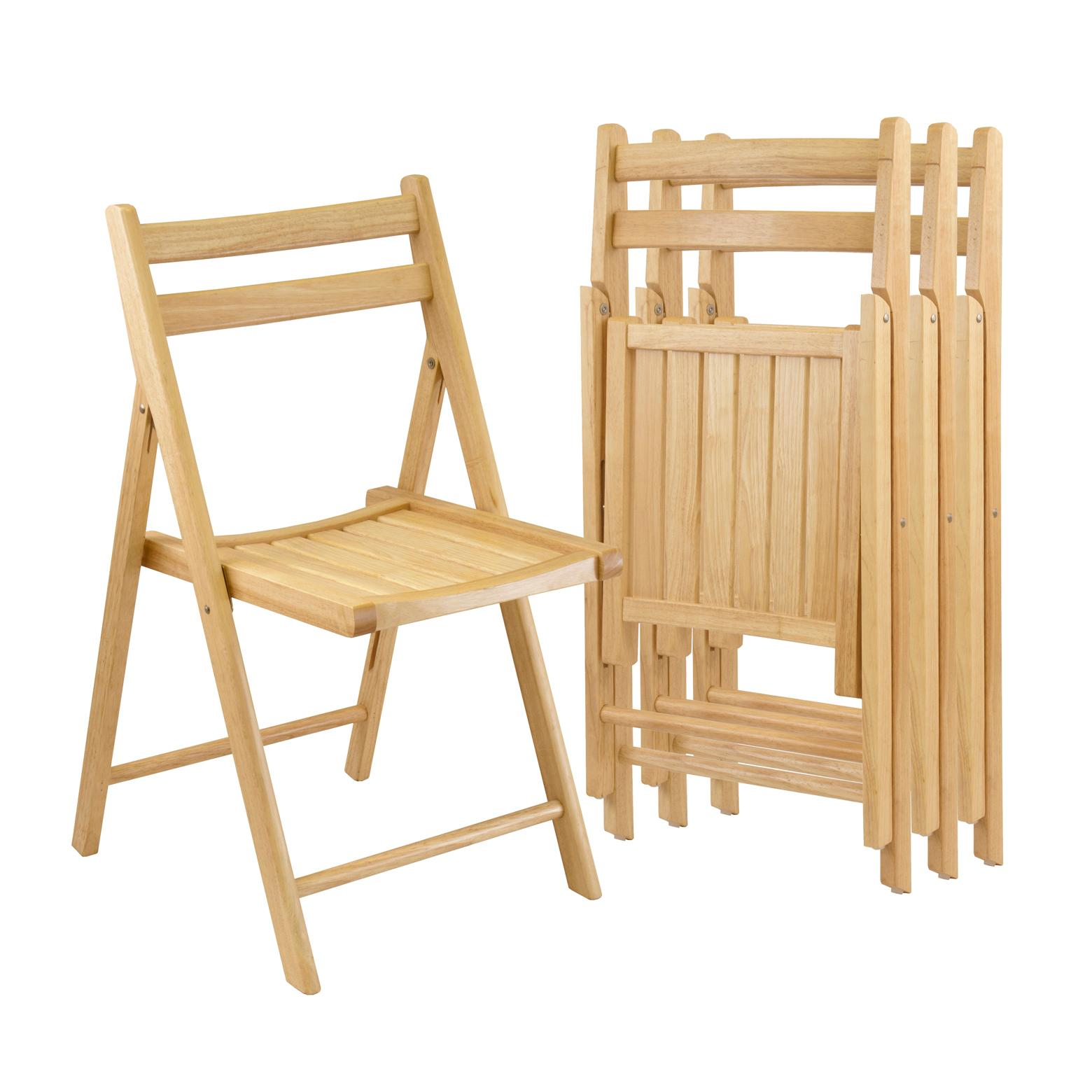 Winsome Wood Folding Chairs Natural Finish Set Of 4 Chairs