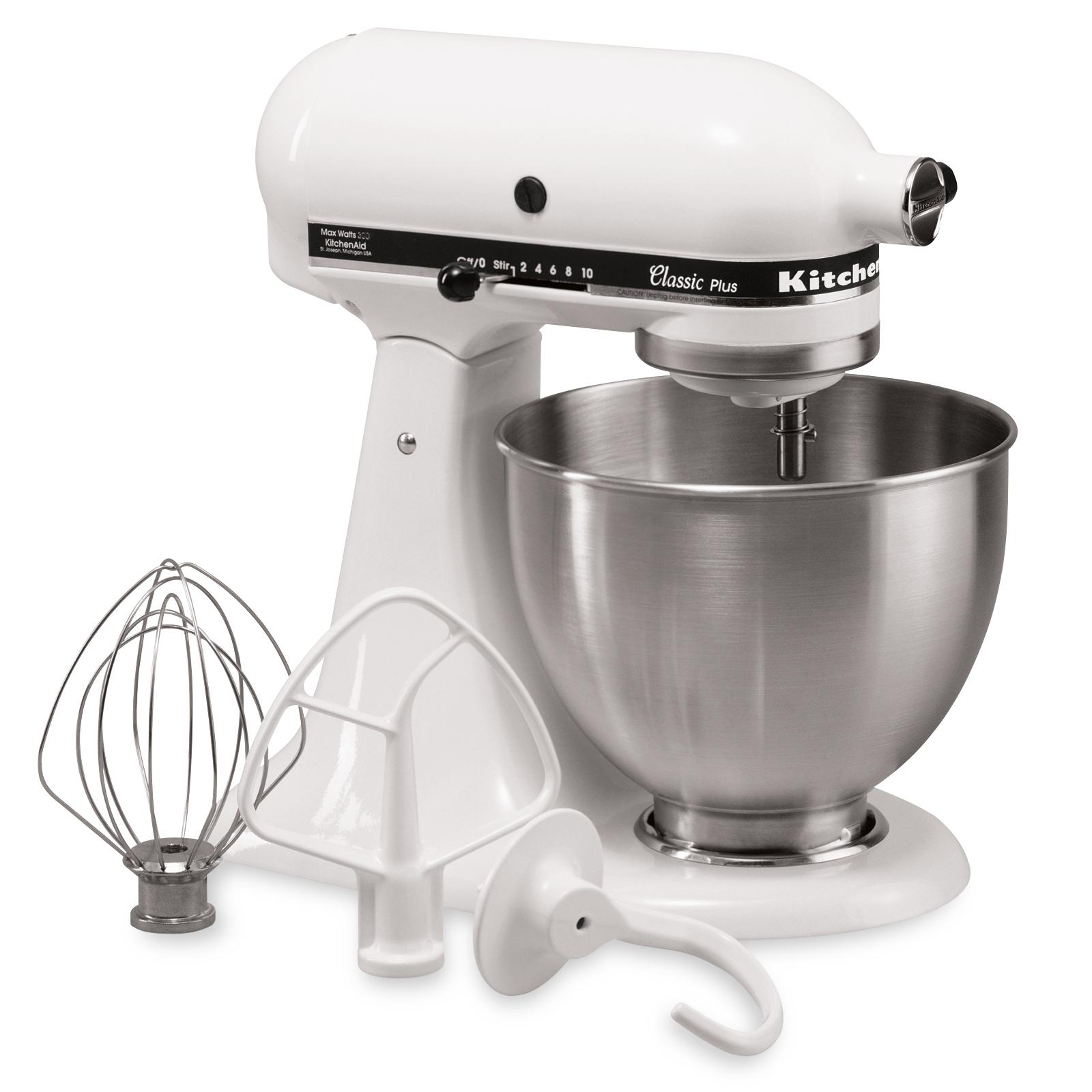kitchenaid ksm75wh classic plus series 4 5 quart tilt head stand mixer