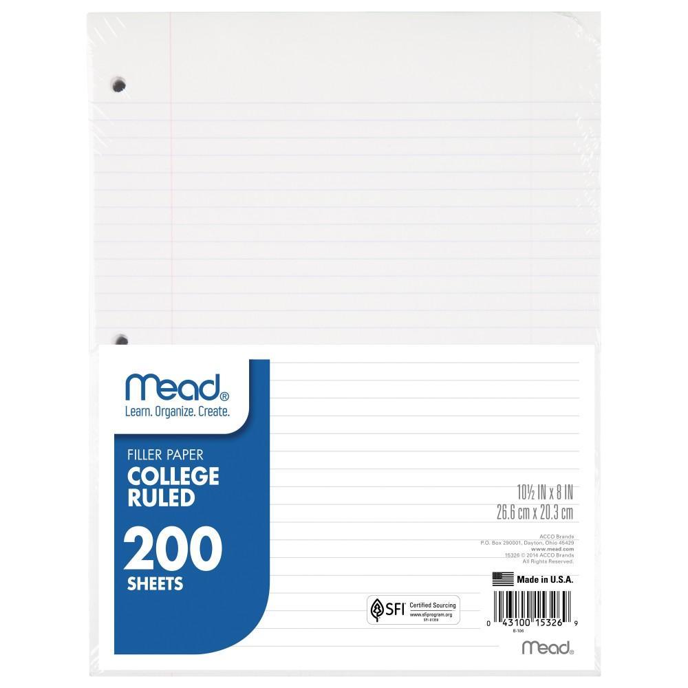 filler paper college ruled