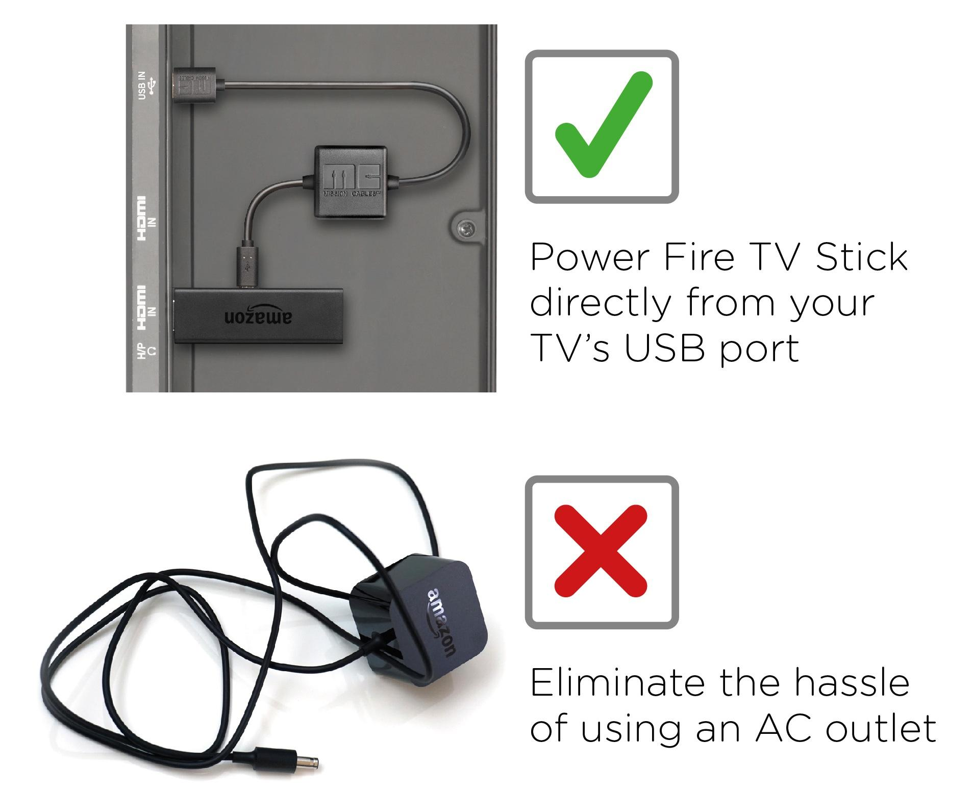 Roku Streaming Stick and Chrome Stick FirePower Cable Compatible with Fire Stick Micro USB Cable for Powering Any TV Stick Directly from TV USB Power Port
