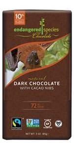 dark chocolate, fair trade, non-gmo, vegan, gluten free, kosher