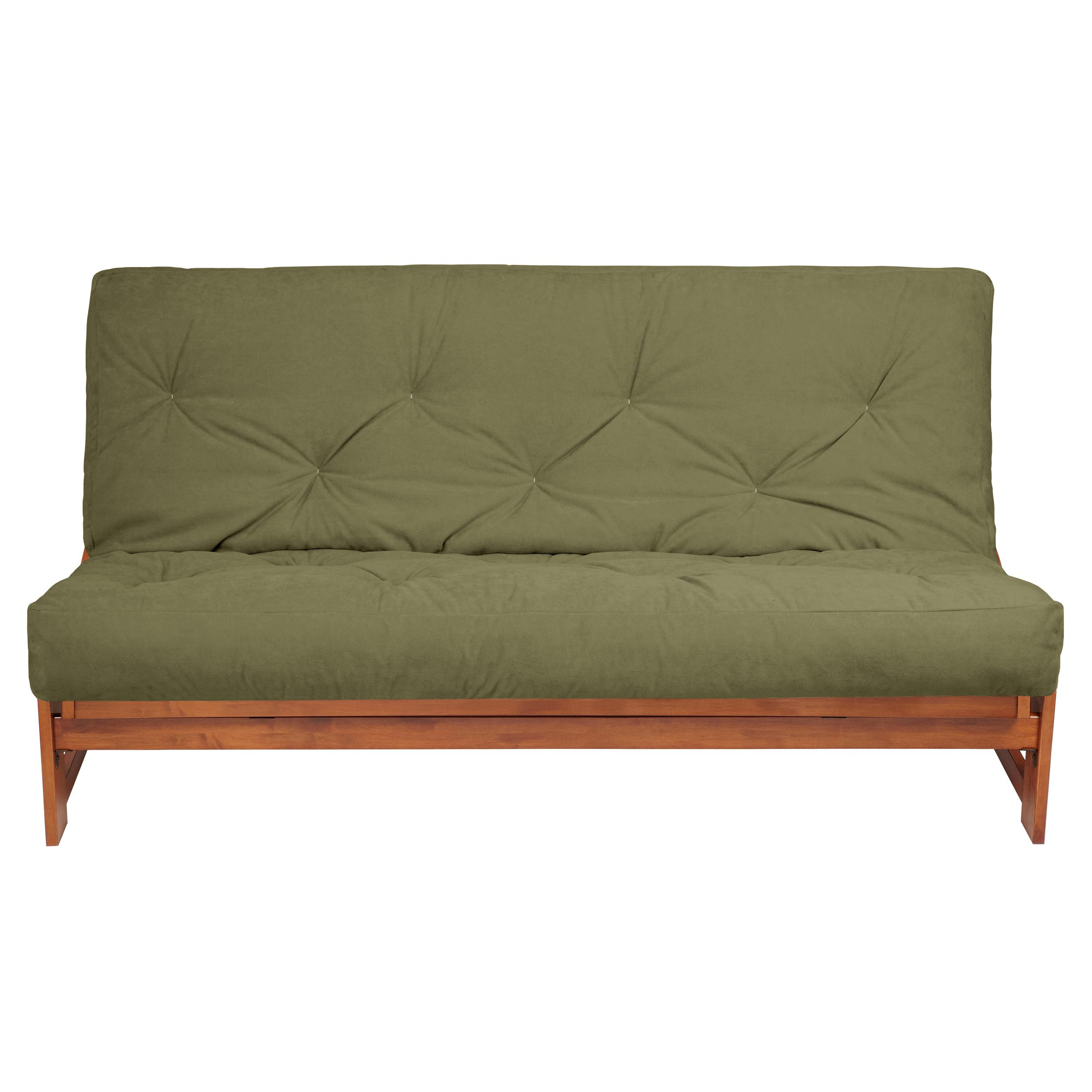 view larger amazon    mozaic 6 inch futon mattress queen sage suede      rh   amazon