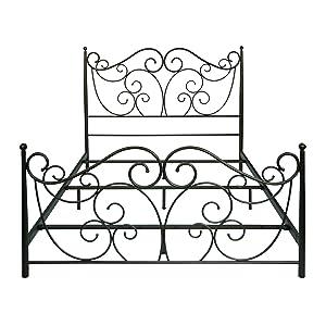 bello b538qdb metal bed frame queen dark bronze - Queen Iron Bed Frame