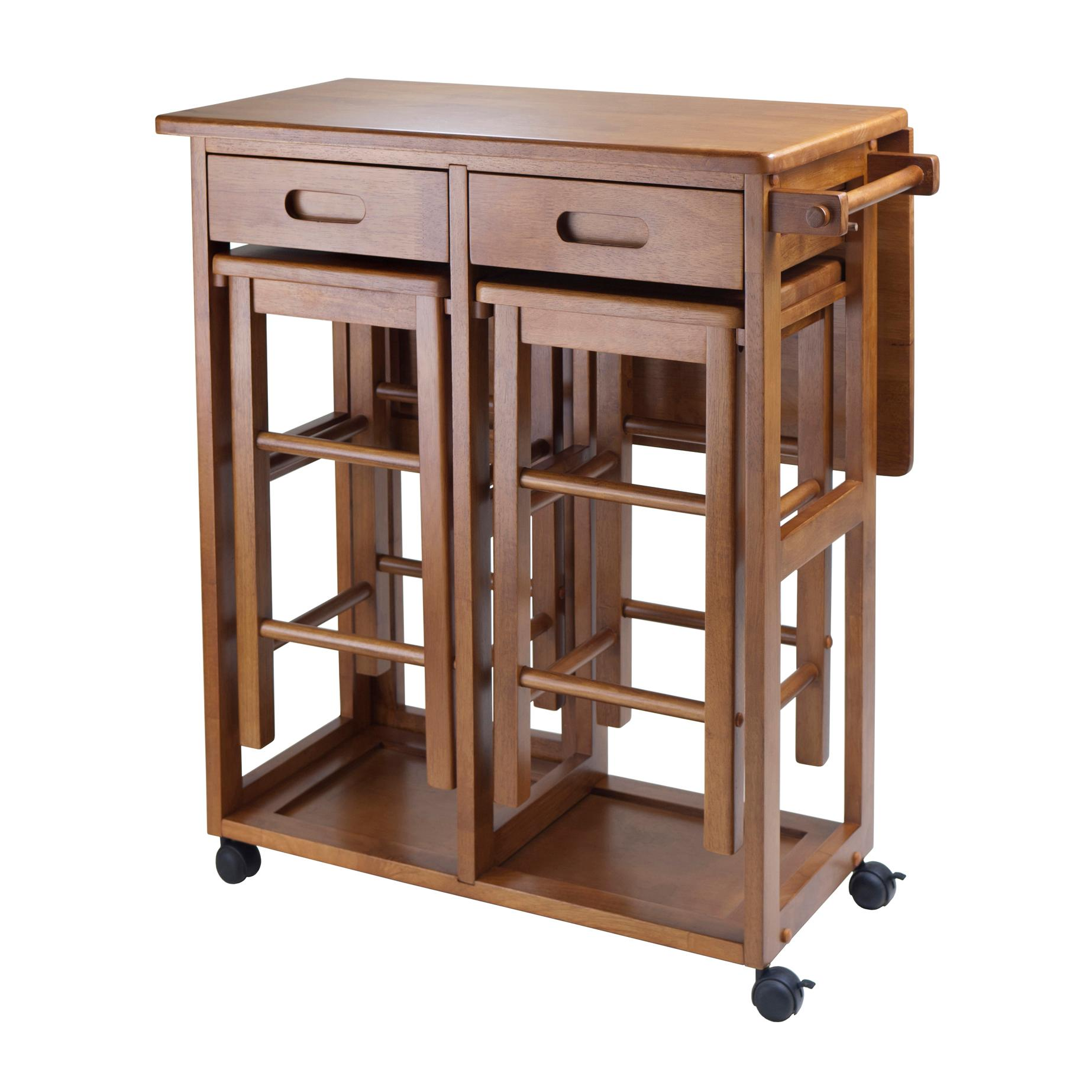 Kitchen Table With Stools Underneath: Winsome 39330 Suzanne Kitchen, Square, Teak