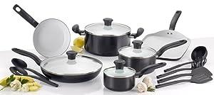 T-fal Initiatives Ceramic Non-stick 16-Piece Black Cookware Set