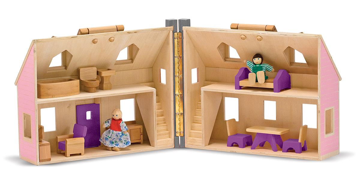 Melissa Doug Fold And Go Wooden Dollhouse With 2 Dolls And Wooden Furniture