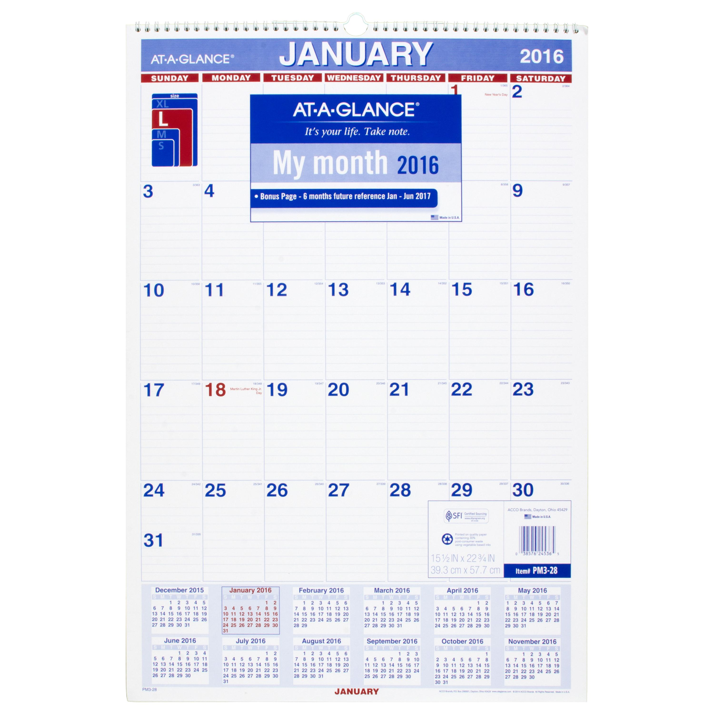 Amazon.com : AT-A-GLANCE Monthly Wall Calendar 2017, 15.5 x 22.75 ...