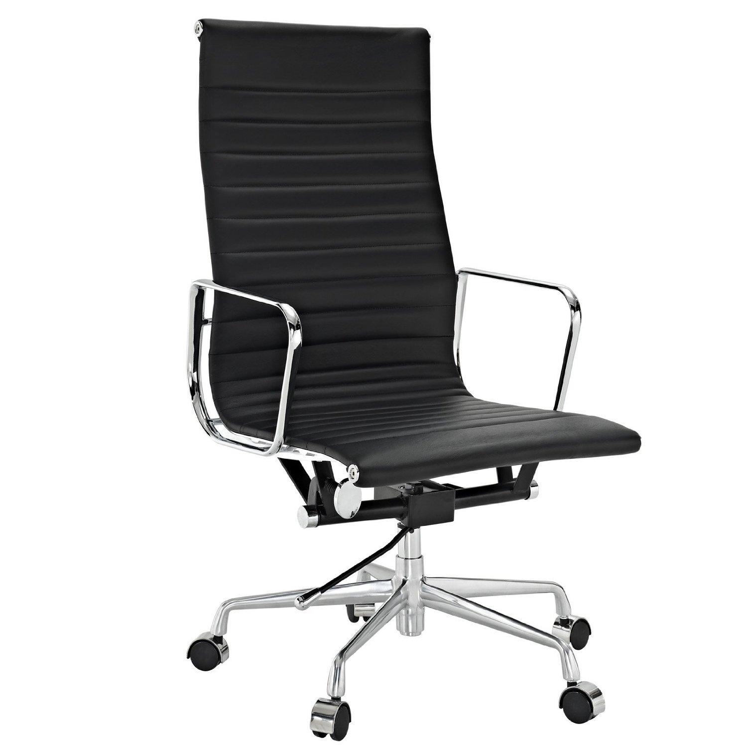 High office chair - Lexmod Ribbed High Back Office Chair In Genuine Leather View Larger