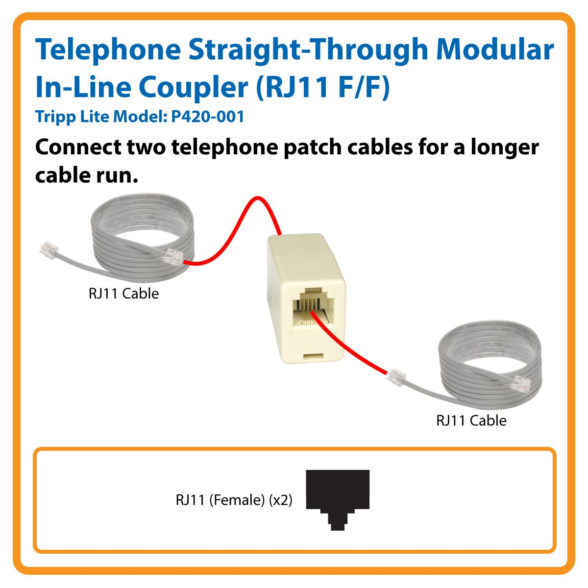 Tripp Lite Rj11 Modular Coupler Straight Through Inline Using Cat6 Wiring Diagram Telephone In Line F