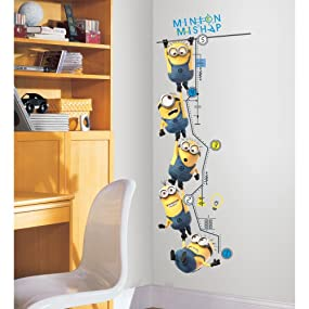 minions growth chart, minion growth chart, minion wall decals, minions wall sticker