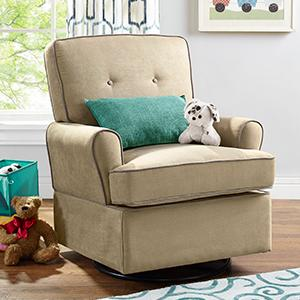Baby Relax Tinsley Swivel Glider Beige Nursery Room