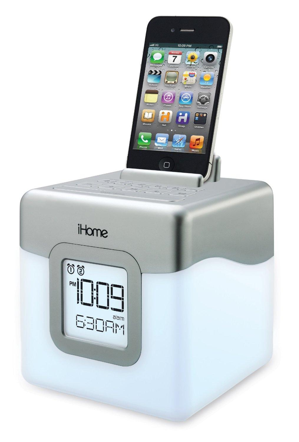 ihome ihm28w2 color changing alarm clock fm radio with usb charging home audio. Black Bedroom Furniture Sets. Home Design Ideas