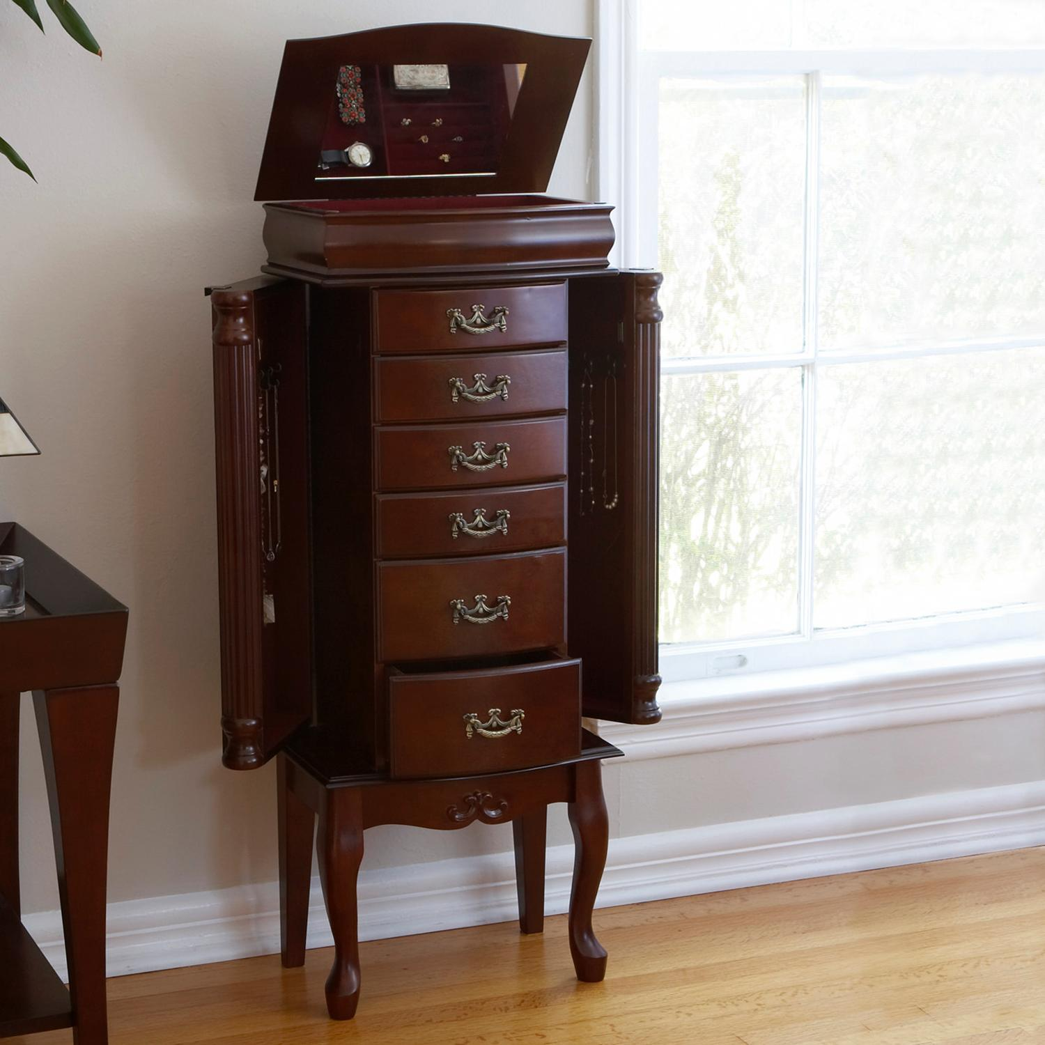 Amazon.com: Southern Enterprises Jewelry Armoire, Classic Mahogany ...