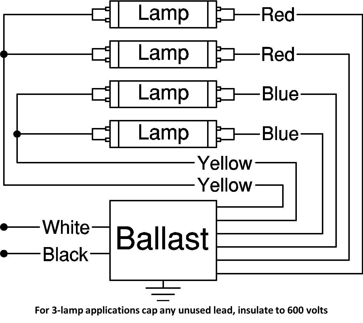Wiring Diagram for 4/3 Lamp Installation - Ballast Exit Leads
