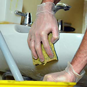 Vinyl Gloves, Janitorial, Sanitation, In Use, Cleaning, Clean Sink