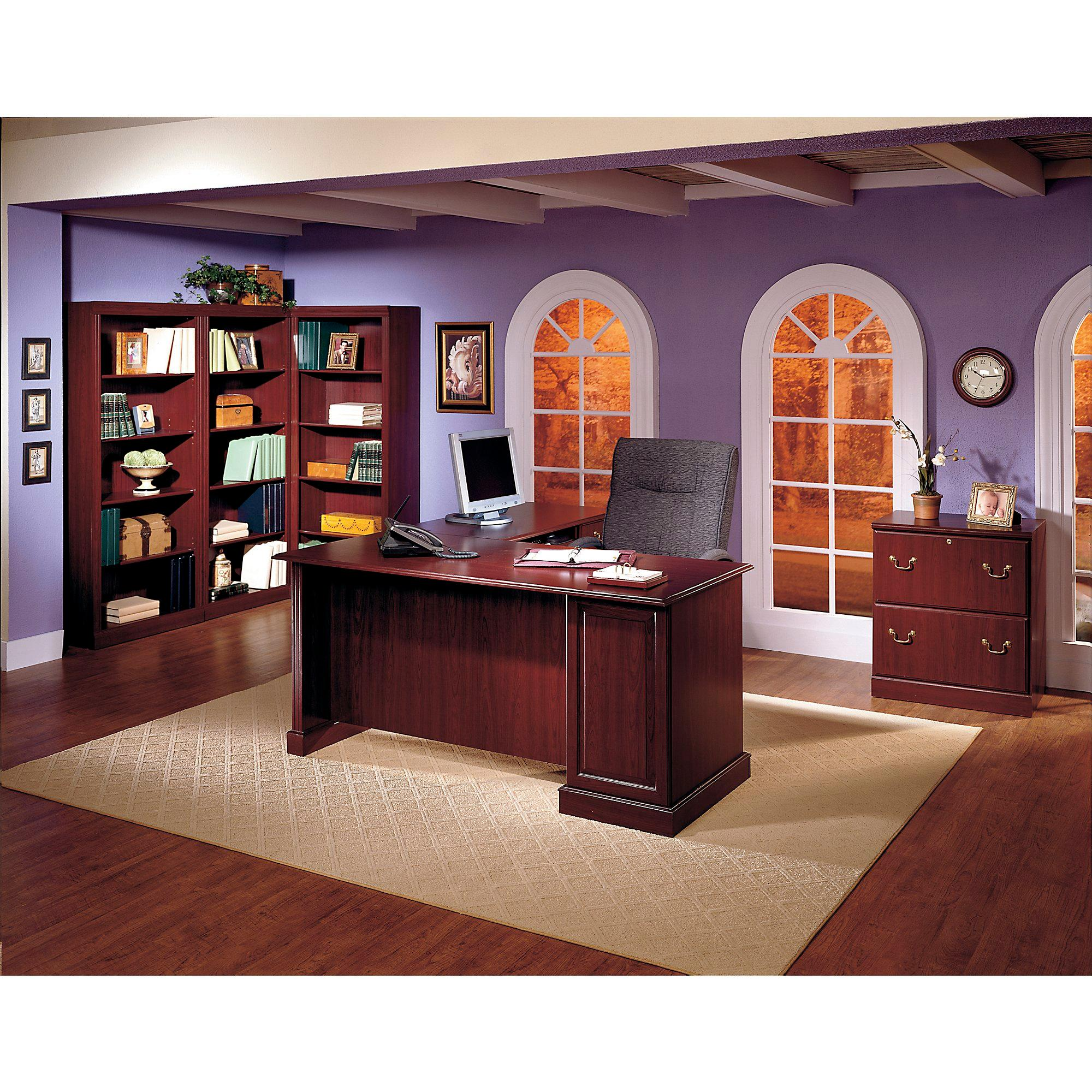 Amazon Saratoga Executive Desk in Harvest Cherry and Black