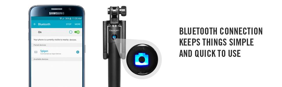 spigen s520 selfie stick new generation bluetooth selfie stick with remote shutter. Black Bedroom Furniture Sets. Home Design Ideas