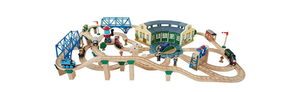 Fisher-Price Thomas & Friends Wooden Railway Tidmouth Sheds Deluxe Set