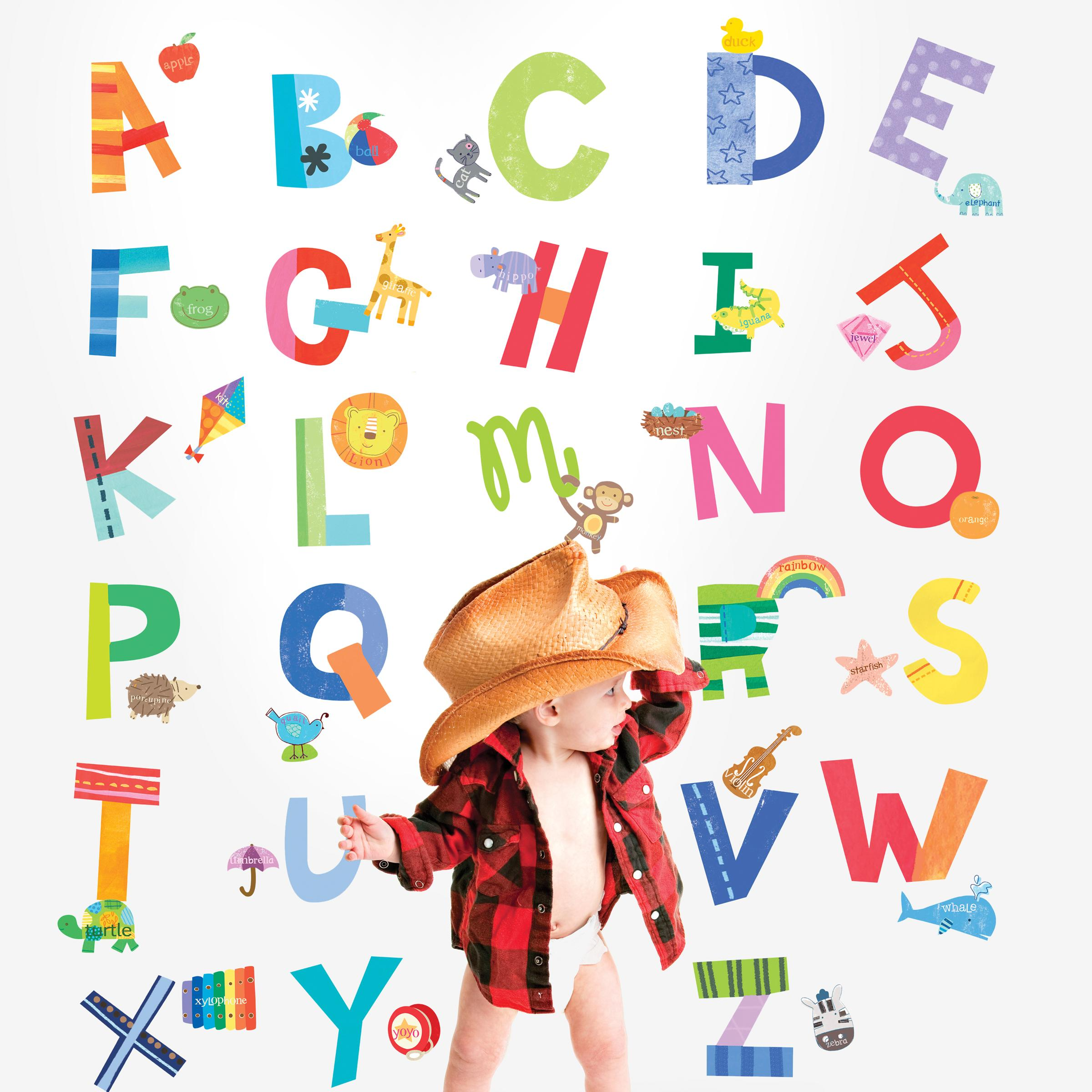 Wallies wall decals alphabet fun wall for Alphabet wall mural