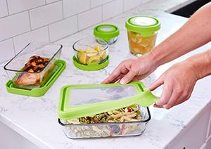 glass; storage; containers; flexible; removable; easy to remove; tab; lids