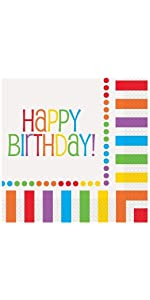 Rainbow Birthday Luncheon Napkins, 16ct