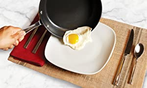 all-clad hard anodized frying pan with egg