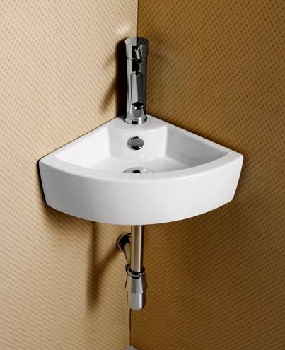 Elite Sinks Porcelain Wall Mounted Corner Sink White