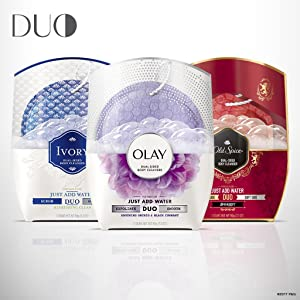 DUO is available from your favorite brands: Olay, Old Spice, and Ivory