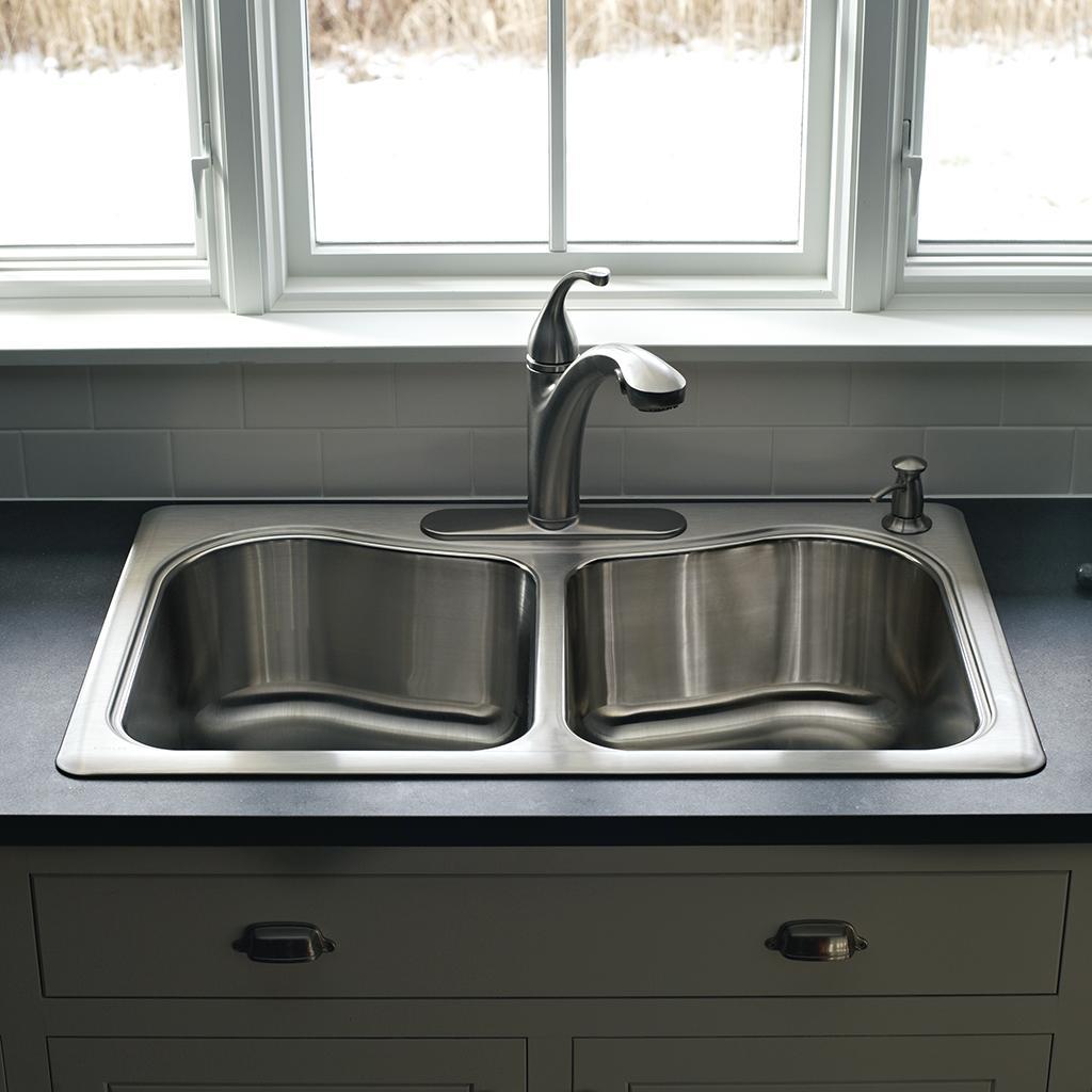 Kohler k 3361 3 na staccato large medium self rimming - Kitchen sink rim ...
