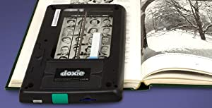 an upside-down doxie flip being used to scan a page from a historical book