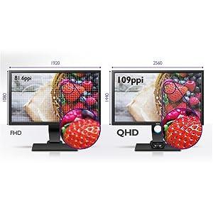 2560x1440 QHD Resolution—109 Pixels Per Inch