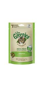 FELINE GREENIES Original Dental Treats for Cats Catnip Flavor